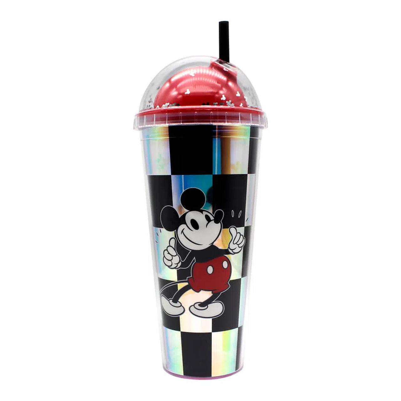 Copo com Canudo Xadrez (Holográfico) Mickey Mouse: Disney (750ML) - Zona Criativa