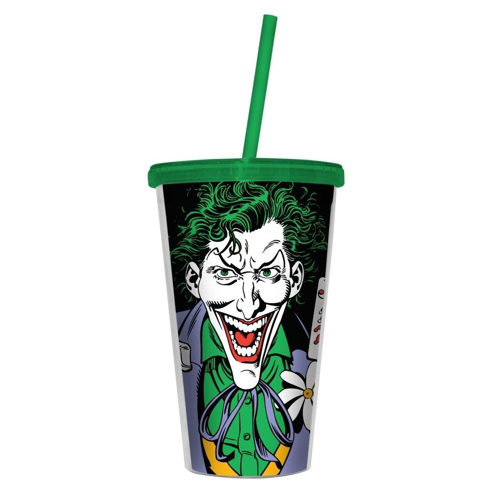 Copo com Tampa e Canudo Plástico Coringa (Joker) - Dc Comics
