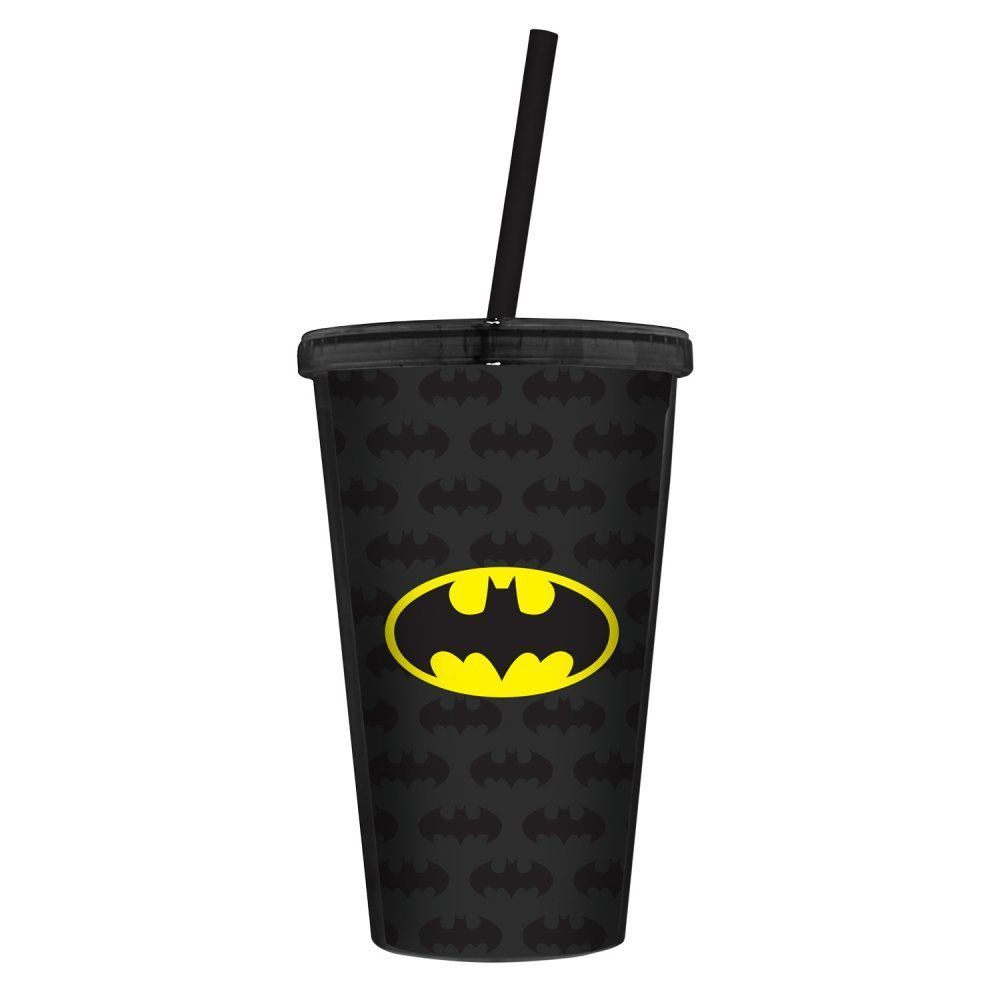 Copo com Tampa e Canudo Plástico DC Comics: Batman Logo - Urban