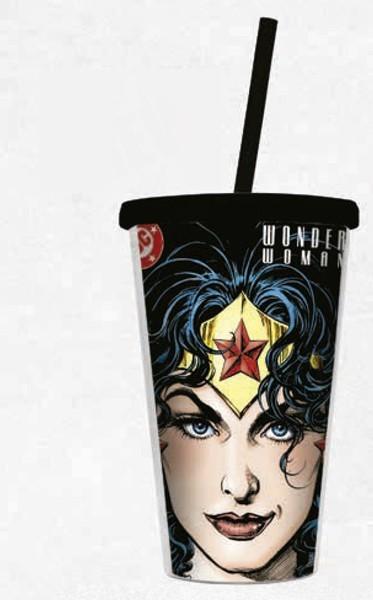 Copo com Tampa e Canudo Mulher Maravilha (Wonder Woman): DC Comics Face - Urban