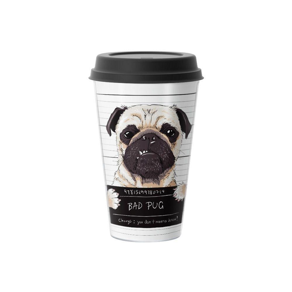Copo de Café Bad Pug Dog 500 ml Branco - EV