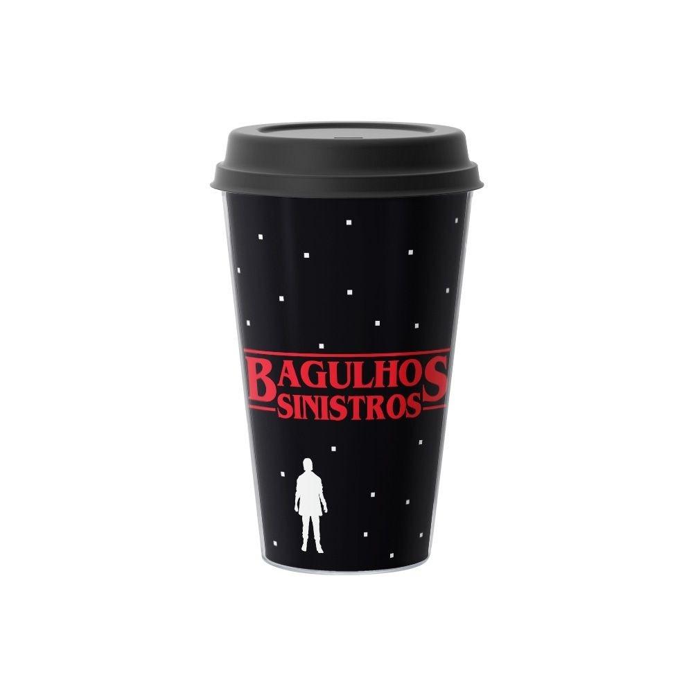 Copo de Café Bagulhos Sinistros Stranger Things 500 ml Preto - EV