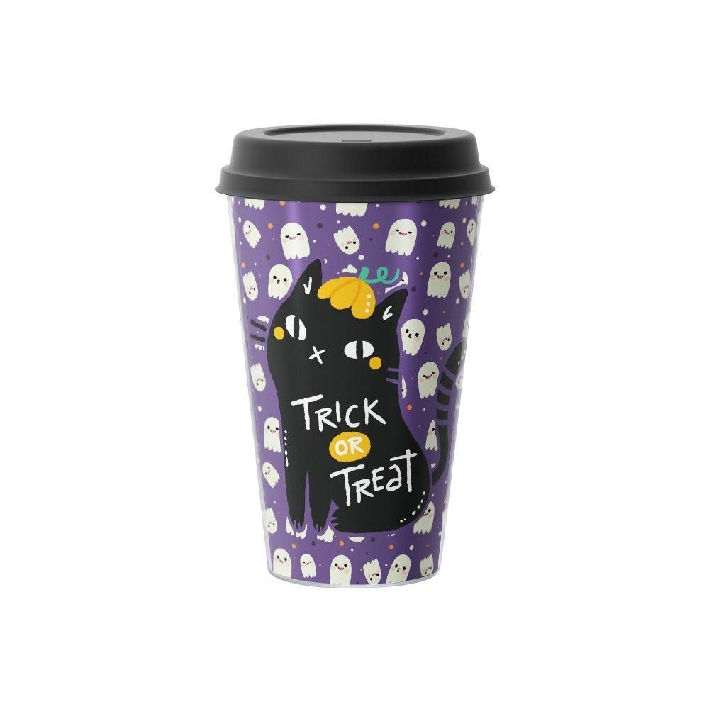 Copo de Café Gato Preto Trick or Treat Halloween 500 ml Roxo - EV