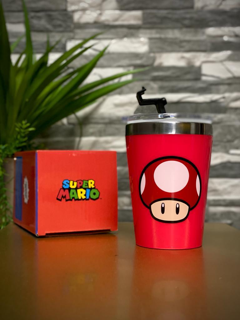 Copo Para Viagem Cogumelo ''Mushroom'': Super Mario Bros (300ml)