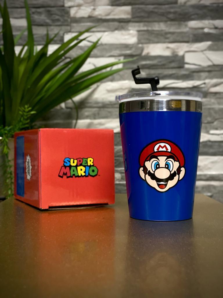 Copo Para Viagem Logo Super Mario - Azul: Super Mario Bros (300ml)