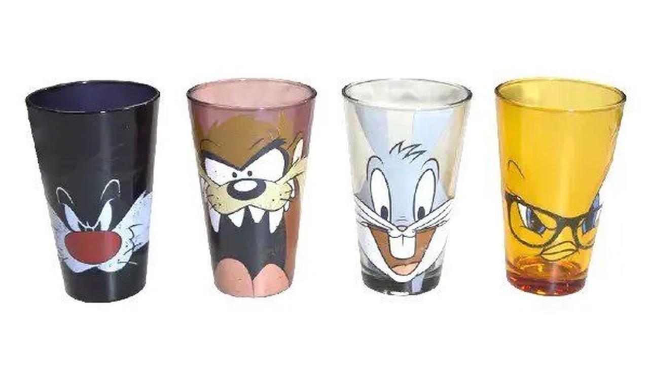 Copo Personagens Looney Tunes: (Set 4 Peças) (400ml) - Metropole