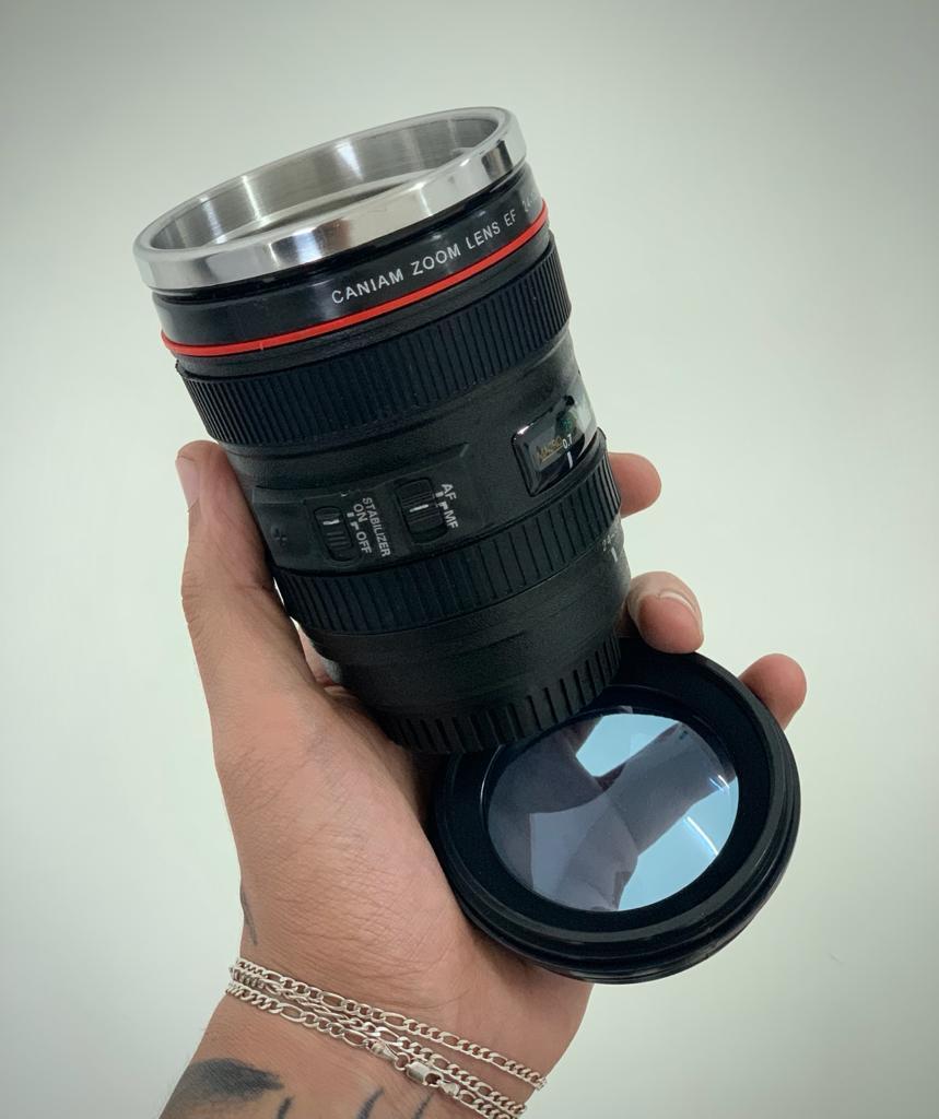 Copo Térmico Lente Câmera Fotográfica 450ml