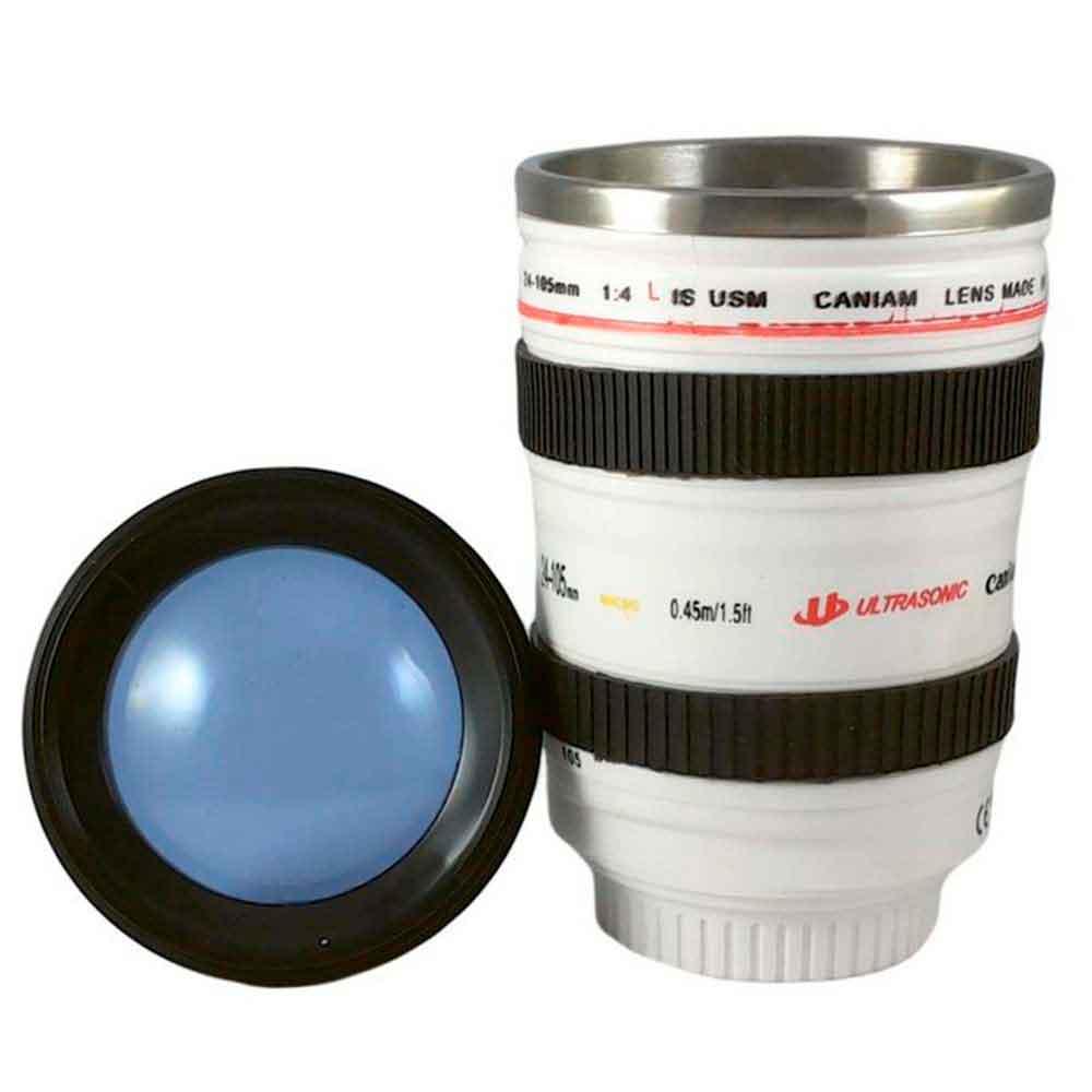 Copo Térmico Lente Câmera Fotográfica Branco 350ml