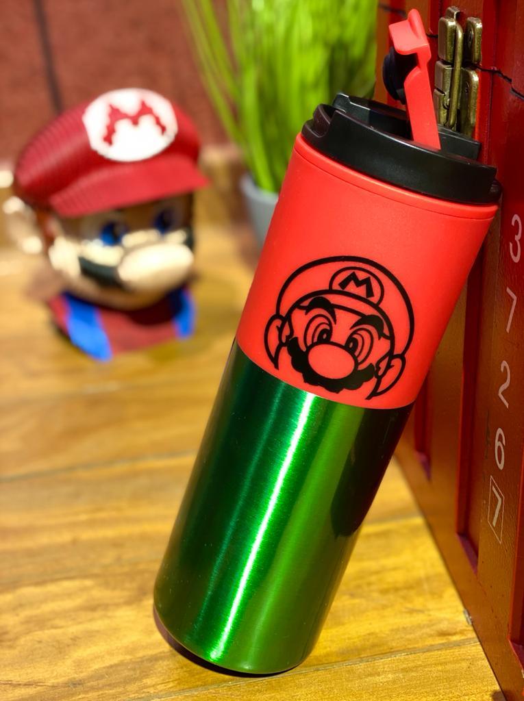Copo Térmico Para Viagem Mario: Super Mario (Vermelho e Verde) - (500ML)