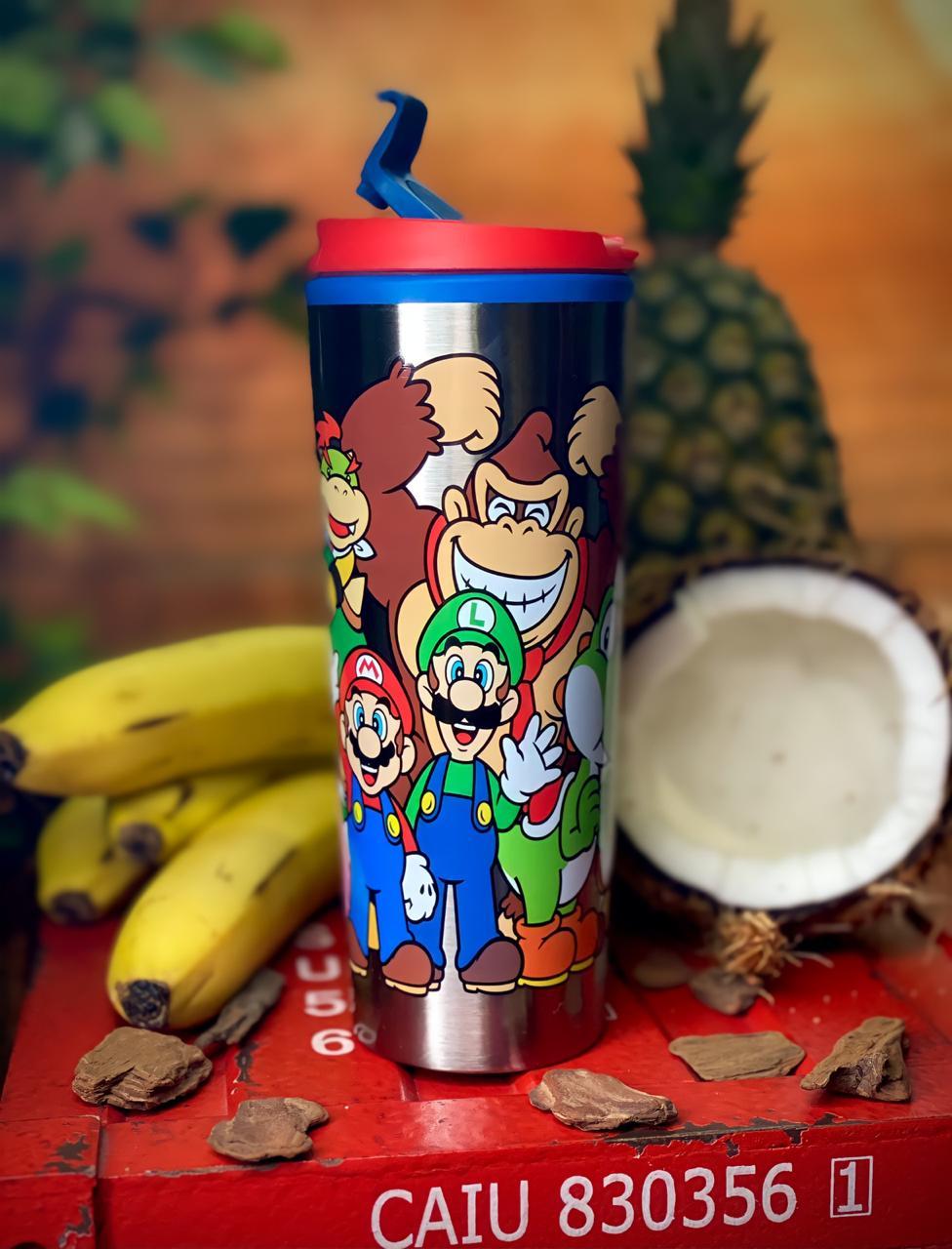 Copo Térmico para Viagem Turma do Mario: Super Marios Bros (450ml) - Zona Criativa