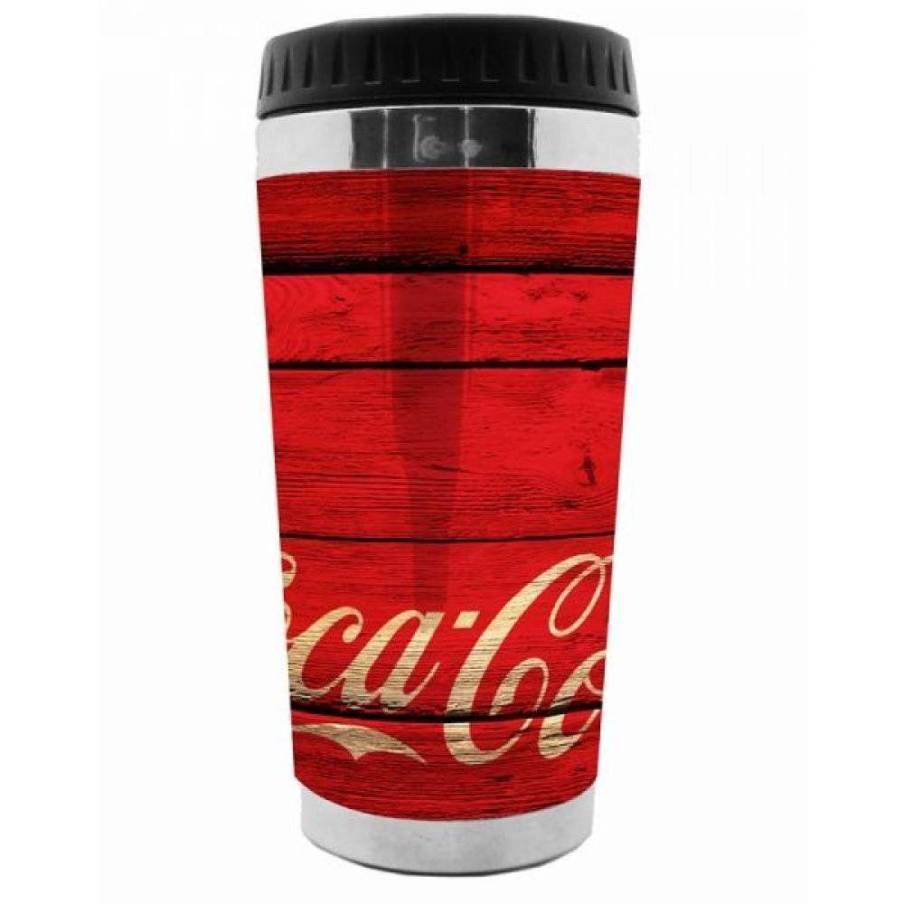 Copo Térmico Plástico Wood Vermelho - Coca Cola