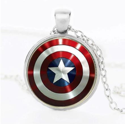 Corrente Colar Com Pingente Escudo Capitão America (Prata) Marvel - EVALI