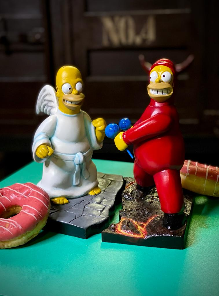 Diorama Estátuas  Simpsons Homer Devil and Angel (25 cm)