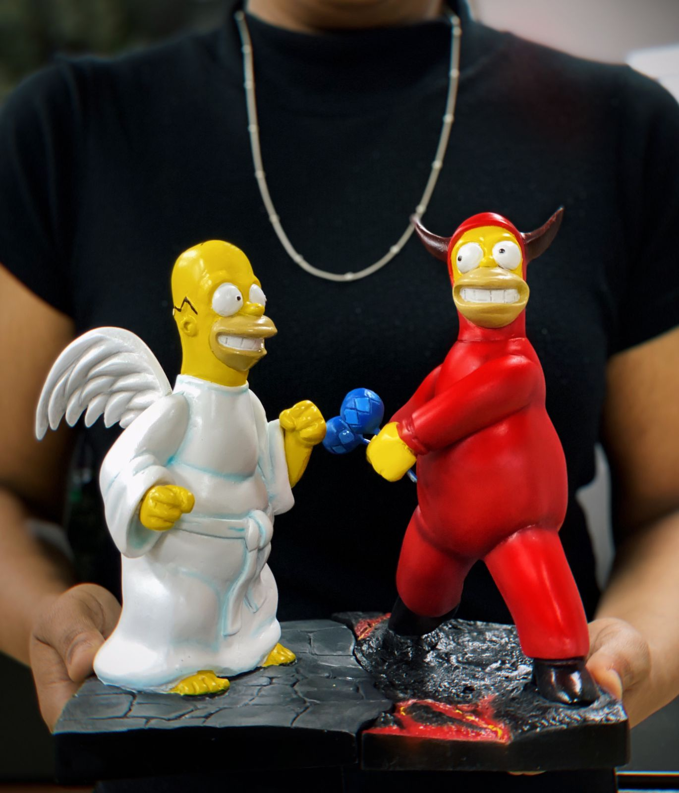 Diorama Estátuas  Simpsons Homer Devil and Angel (25 cm) - EV