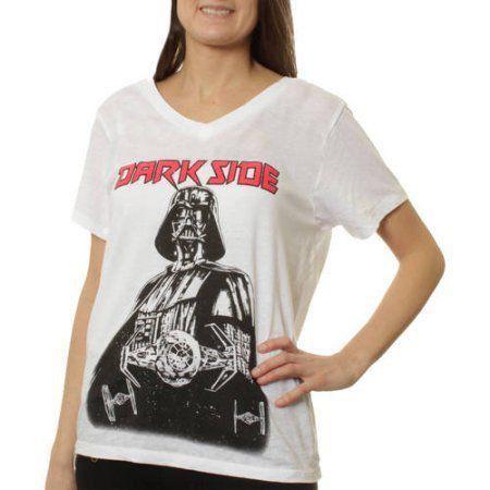 Camiseta Feminina Darth Vader (Dark Side): Star Wars Branca