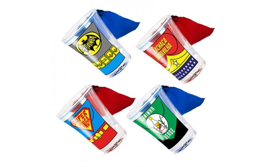 Copo Dose (Shot) Liga da Cachaça: DC Comics (Set 4 Peças)