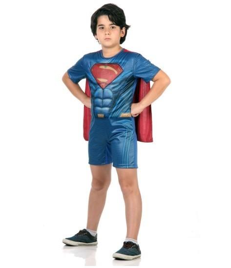 Fantasia Infantil Superman com Musculatura Curto: Batman vs Superman: A Origem da Justiça