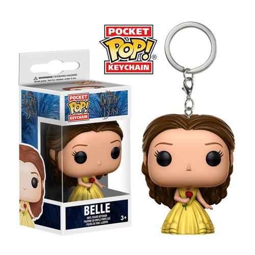 Pocket Pop Chaveiro (Keychains) Bela (Belle) com Vestido Amarelo: Disney: A Bela e a Fera - Funko