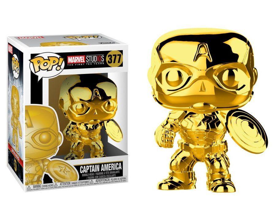 Funko Pop! Capitão América (Captain America) Gold Chrome: Marvel Studios #377 - Funko