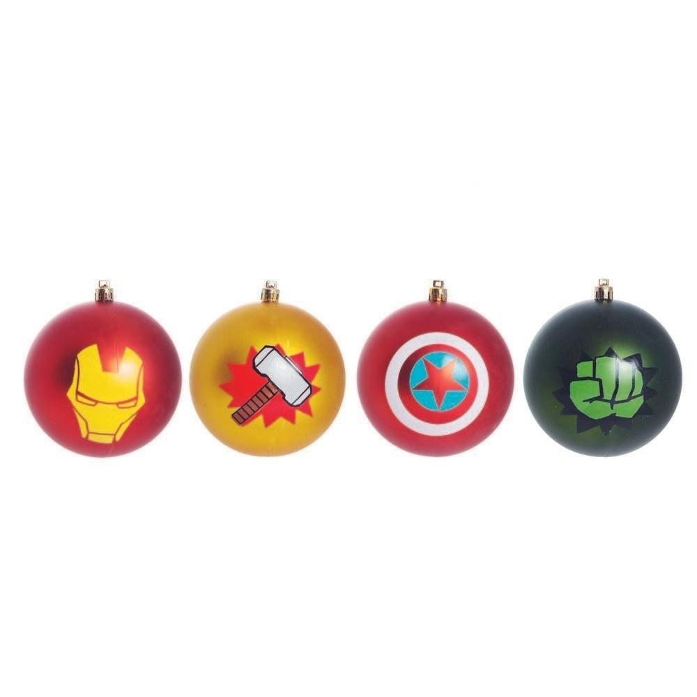 Kit Com 4 Bolas Enfeite Árvore de Natal Geek Vingadores (Avengers) (Grande 8cm): Marvel