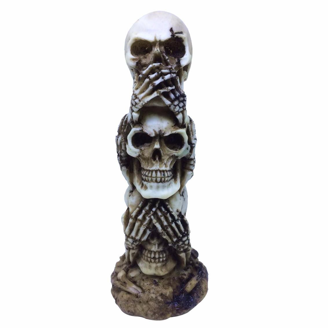 Enfeite Caveira (Skull) Empilhado:(Não Vejo, Não Escuto e Não Falo)