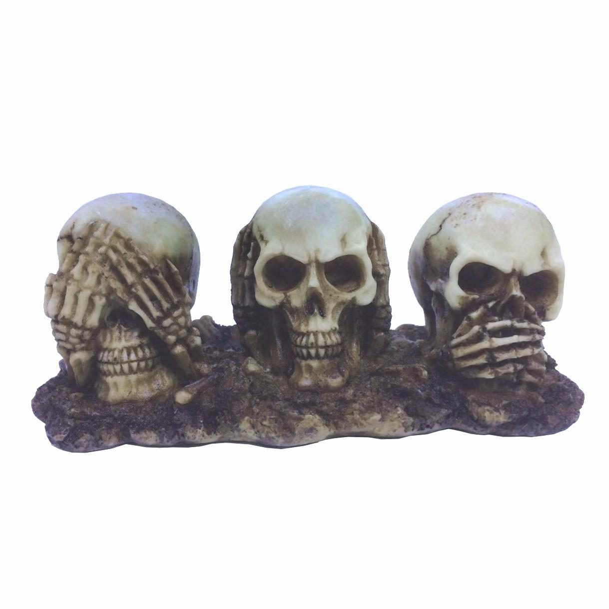 Enfeite Caveira (Skull) Lado a Lado:(Não Vejo, Não Escuto e Não Falo)