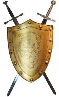 Enfeite De Parede Armas Medievais (Escudo e Espadas)