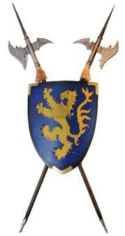 Enfeite De Parede Armas Medievais (Escudo e Machados)