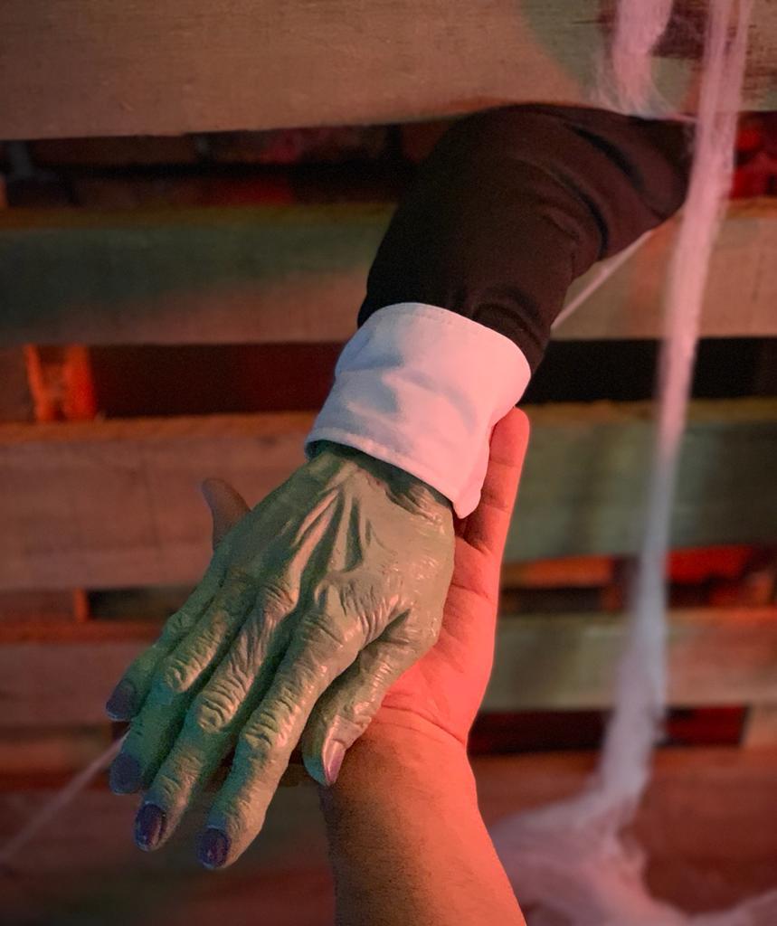 Enfeite Decorativa Braço Mão Zumbi: Terror Halloween Dia das Bruxas