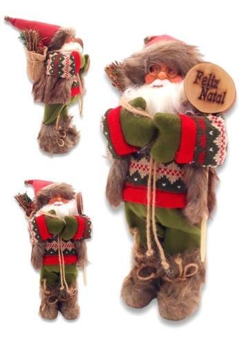 Enfeite Decorativo Papai Noel Casaco De Pelo 30cm