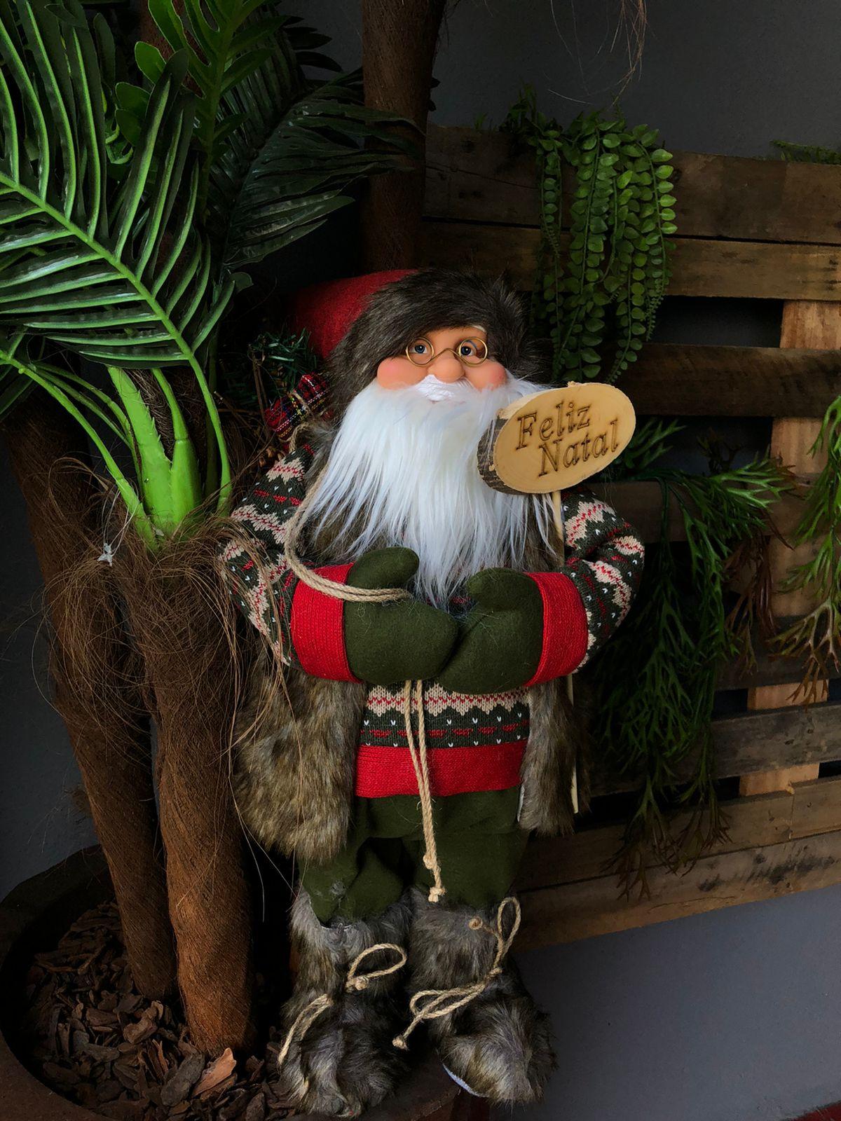 Enfeite Decorativo Papai Noel Casaco Verde 60cm