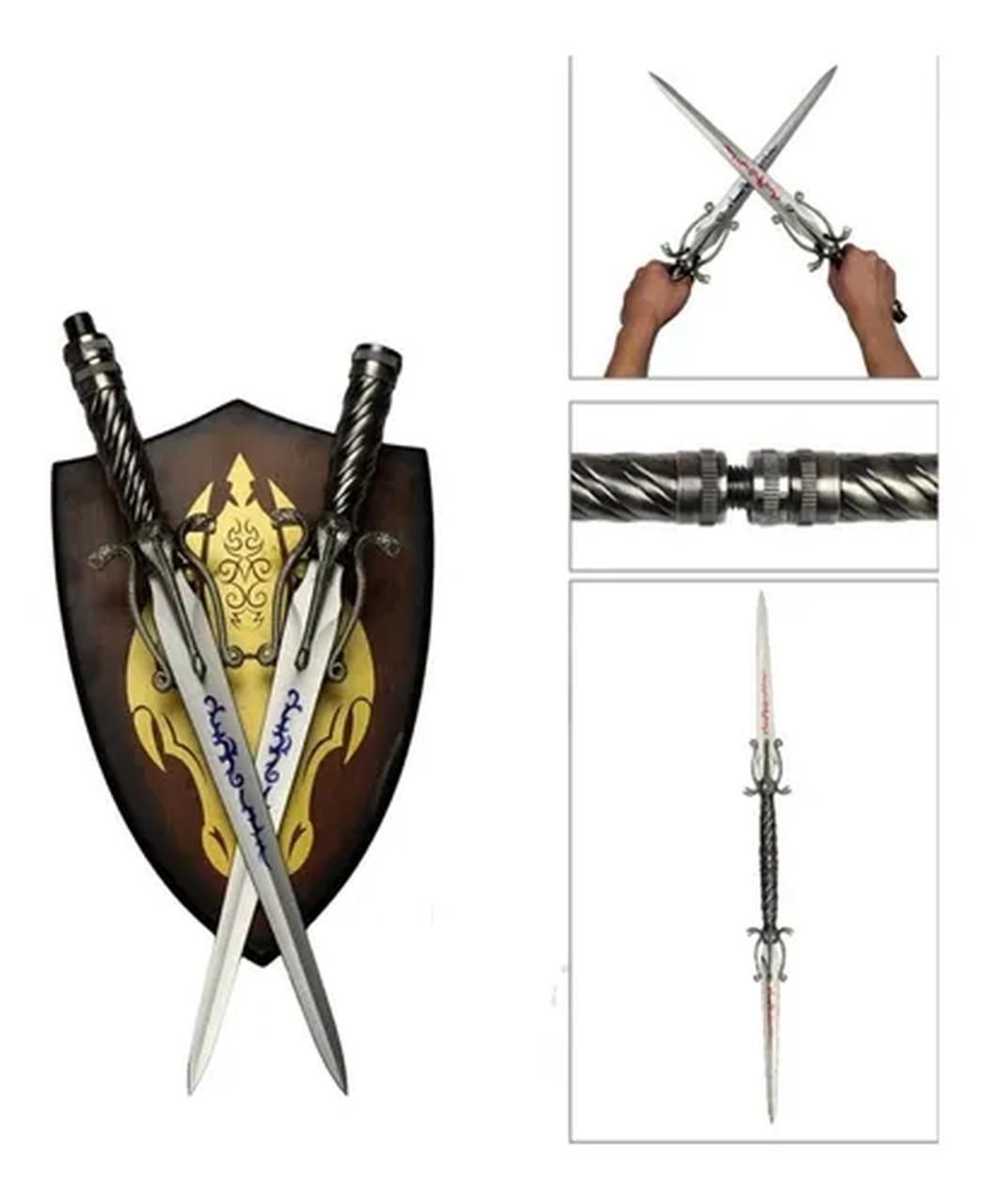 Espada Adaga Dupla Cold Snake e Hot Snake (Com Suporte) (98cm)