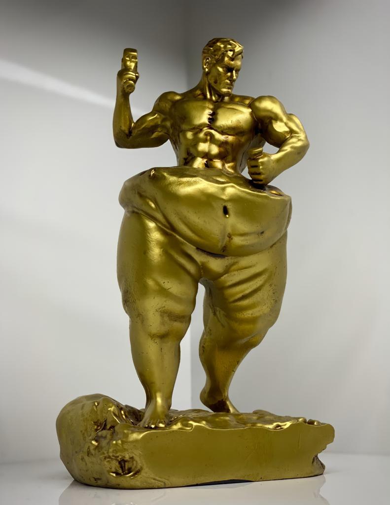 Estátua Auto Escultura Artesanato Decorativa Homem de Bronze