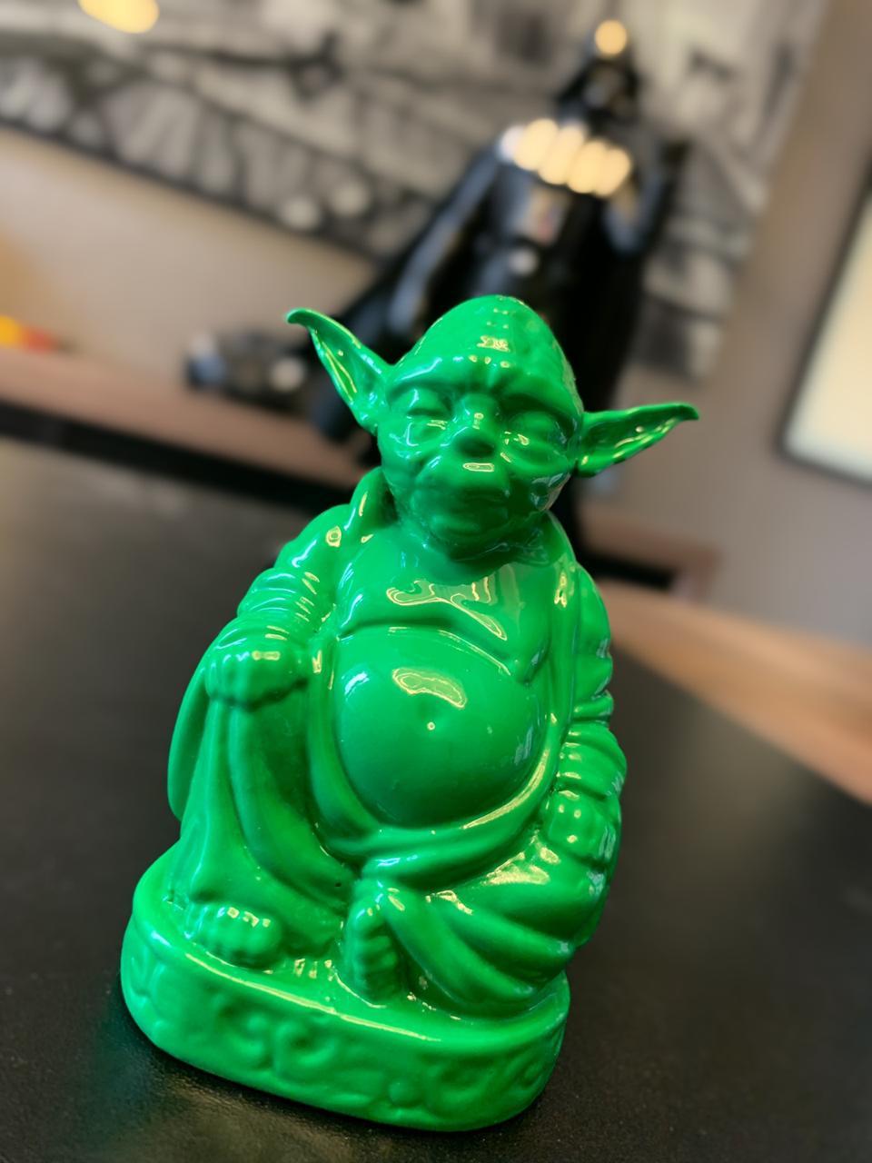 Estátua Buda Pop Yoda (Verde Fosco)