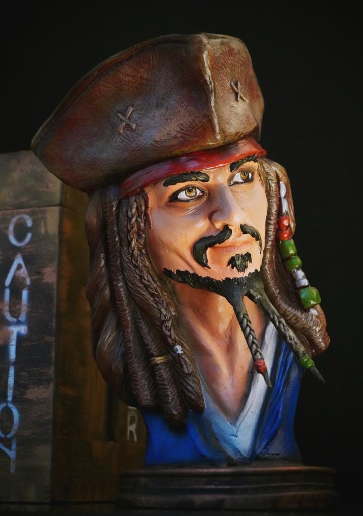 Estátua Busto Capitão Jack Sparrow Piratas Do Caribe Pirates of the Caribbean