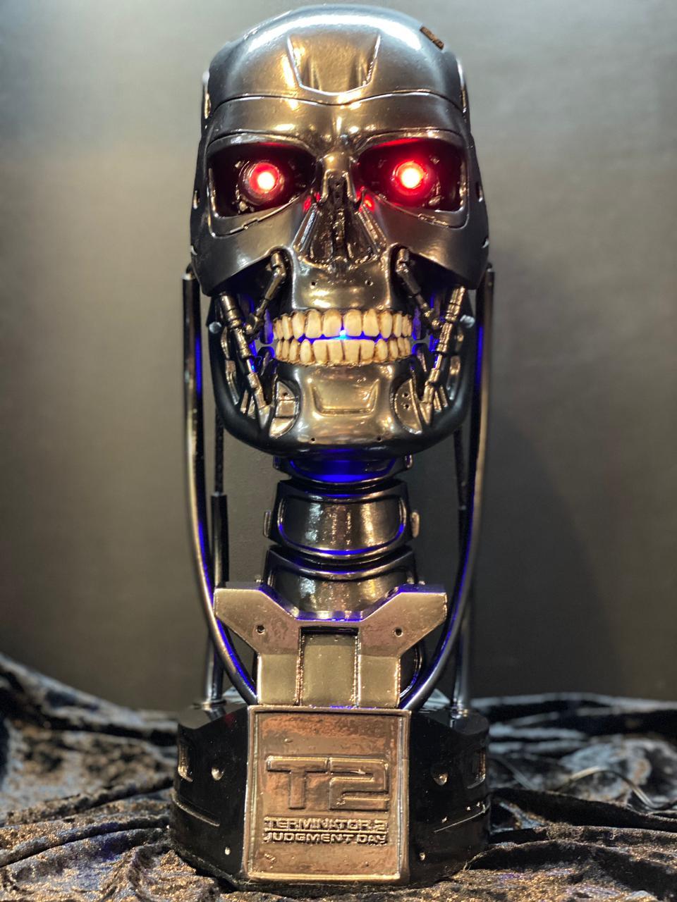 Estátua Busto Exterminador Terminator T800 - Exterminador Do Futuro 2 Terminator 2 Escala 1/1 - Fanatic Studios
