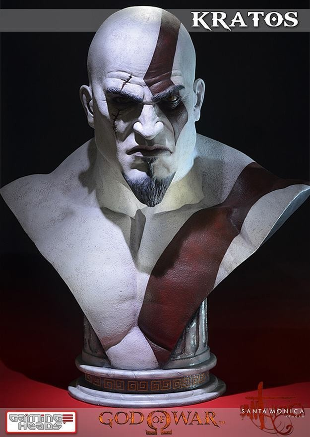 Estátua Bustos Kratos God Of War Life Size Bust Escala 1/1 - Gaming Heads - ET