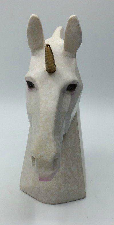 Estátua Cabeça de Unicórnio Origami (Branca)