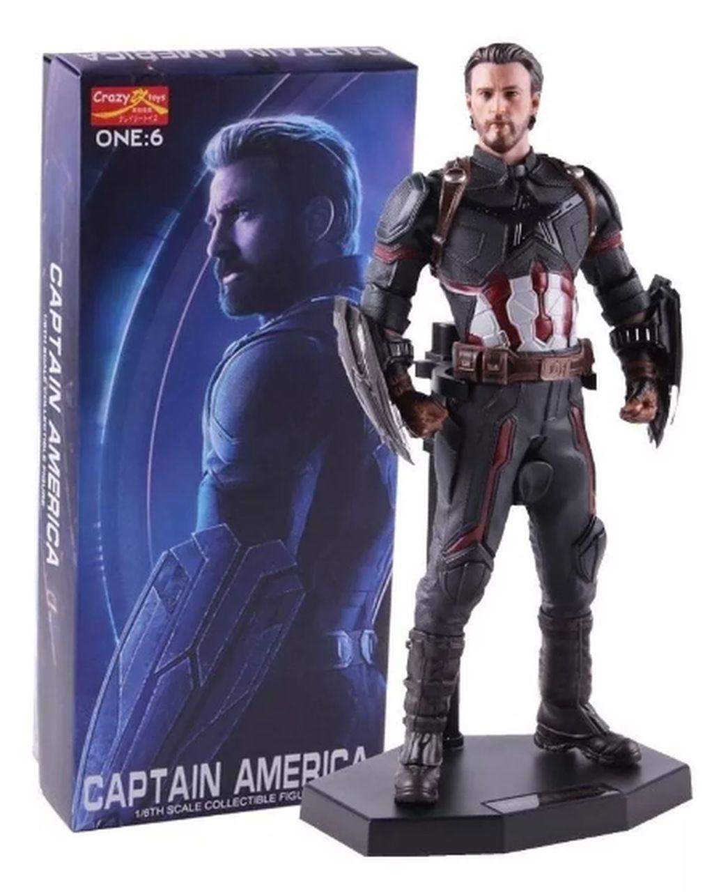 """Estátua """"Capitão América"""" (Avengers Infinity War) Vingadores Guerra Infinita: Escala 1/6 - Crazy Toys Action Figure"""