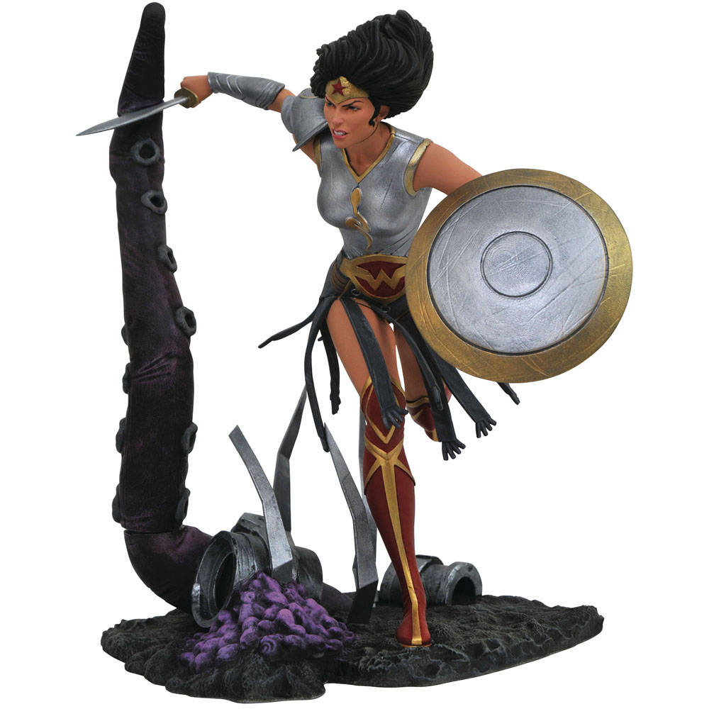 Estátua Colecionável Mulher Maravilha Wonder Woman Metal Diamond Select - DC Gallery - CD