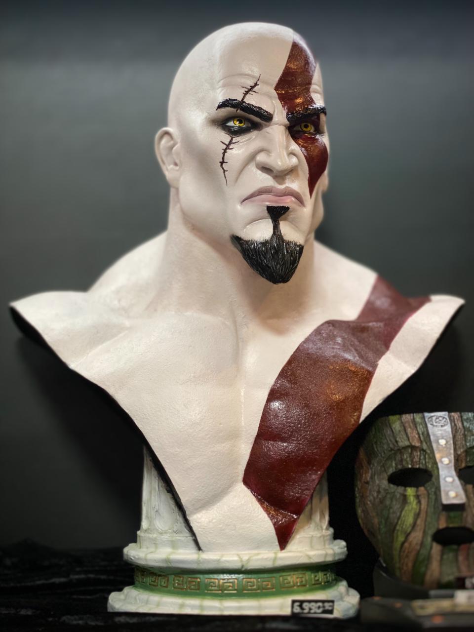 Estátua Bustos Kratos God Of War Life Size Bust Escala 1/1