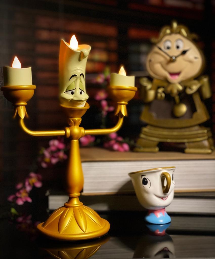 Estátua Decorativa Geek Lumière Candelabro A Bela e a Fera Disney Com Led 22 cm