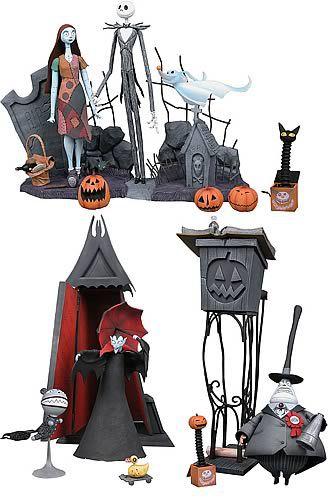 Estátua Diorama Jack Skellington: O Estranho Mundo de Jack (Nightmare Before Christmas) Exclusive Set - NECA
