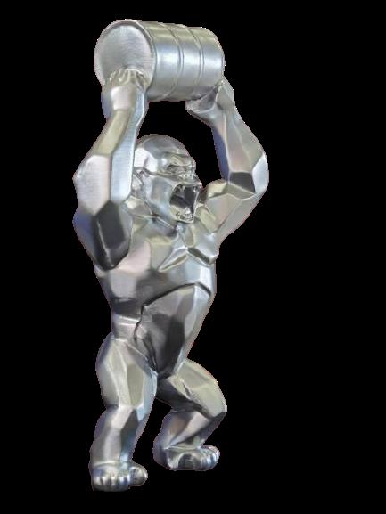 Estátua King Donkey Kong Modern Geometric Cinza 40 cm - EVALI