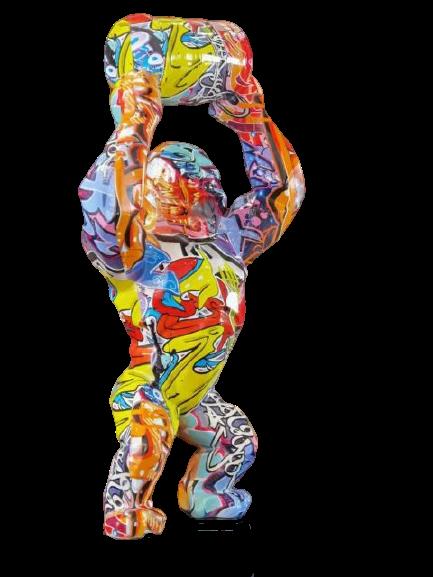 Estátua King Donkey Kong Modern Geometric Grafite Pop Art 40 cm - EVALI