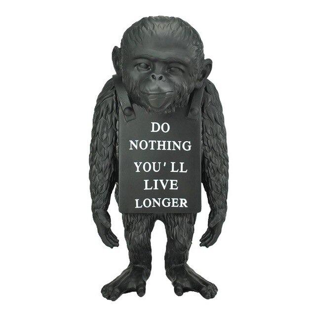 Estátua Macaco Do Nothing You'll Live Longer Banksy Preto 36 cm - EVALI