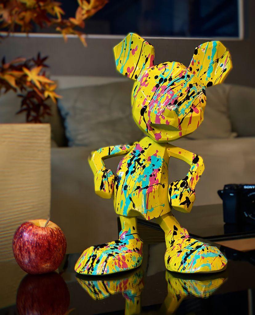 Estátua Mickey Mouse Amarelo: Mickey e Minnie Mouse Disney Modern Geometric Pop Art By Russ