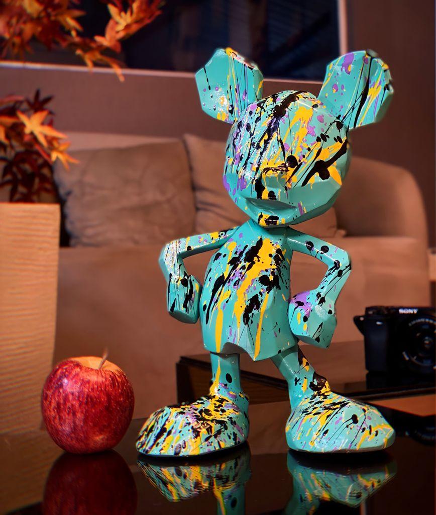 Estátua Mickey Mouse Azul: Mickey e Minnie Mouse Disney Modern Geometric Pop Art By Russ