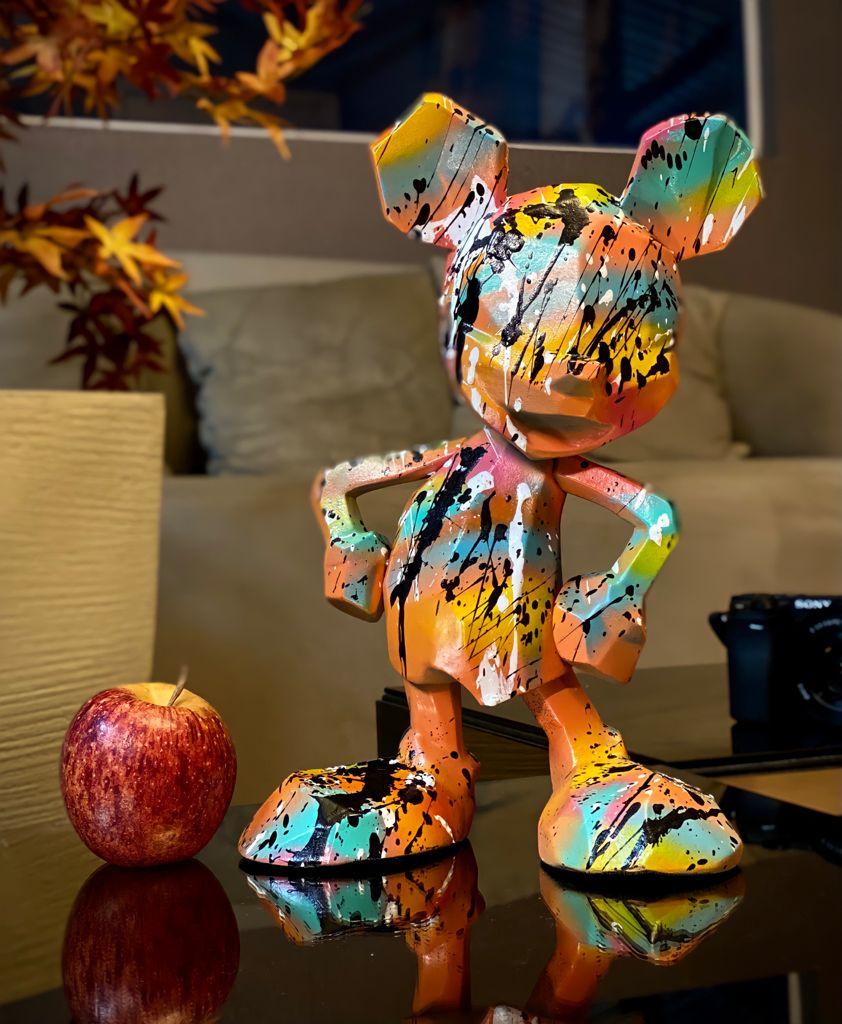 Estátua Mickey Mouse Laranja: Mickey e Minnie Mouse Disney Modern Geometric Pop Art By Russ