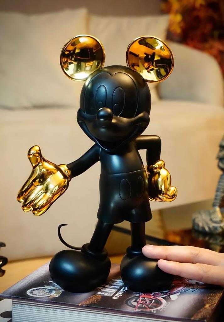 Estátua Mickey Mouse: Mickey e Minnie Mouse (Preto e Dourado) 30cm Disney - EVALI